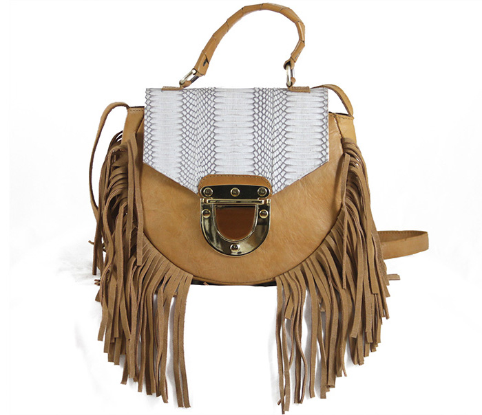 Adele Fringe L Honey - Natural Snake Flap