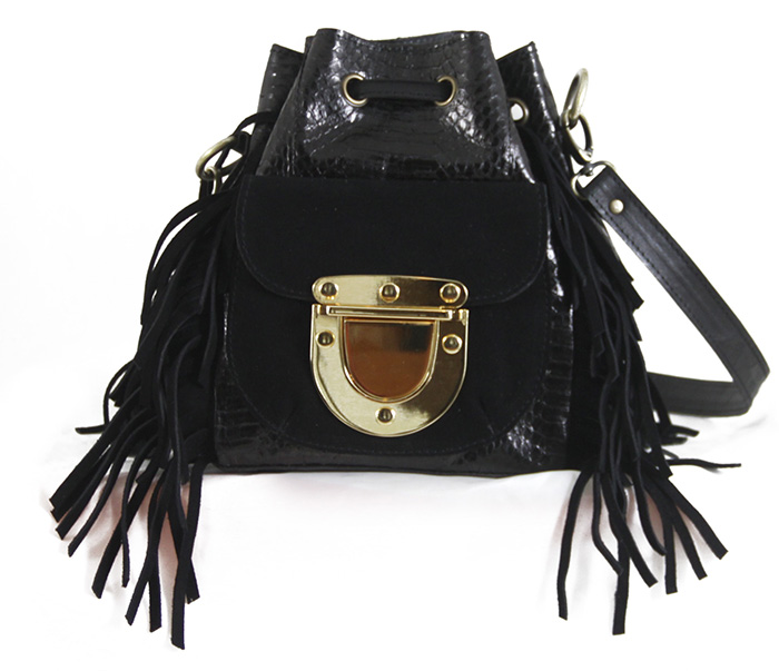 West Village Fringe Snake Mini Black
